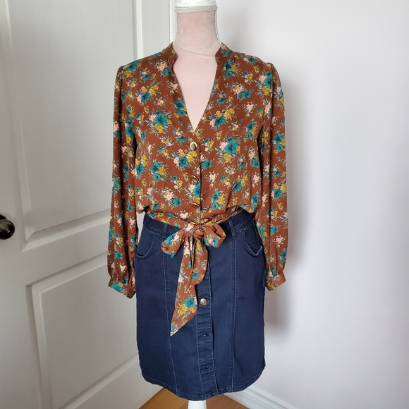 Zara long sleeve brown blouse sz M